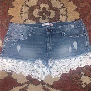 White Lace denim shorts